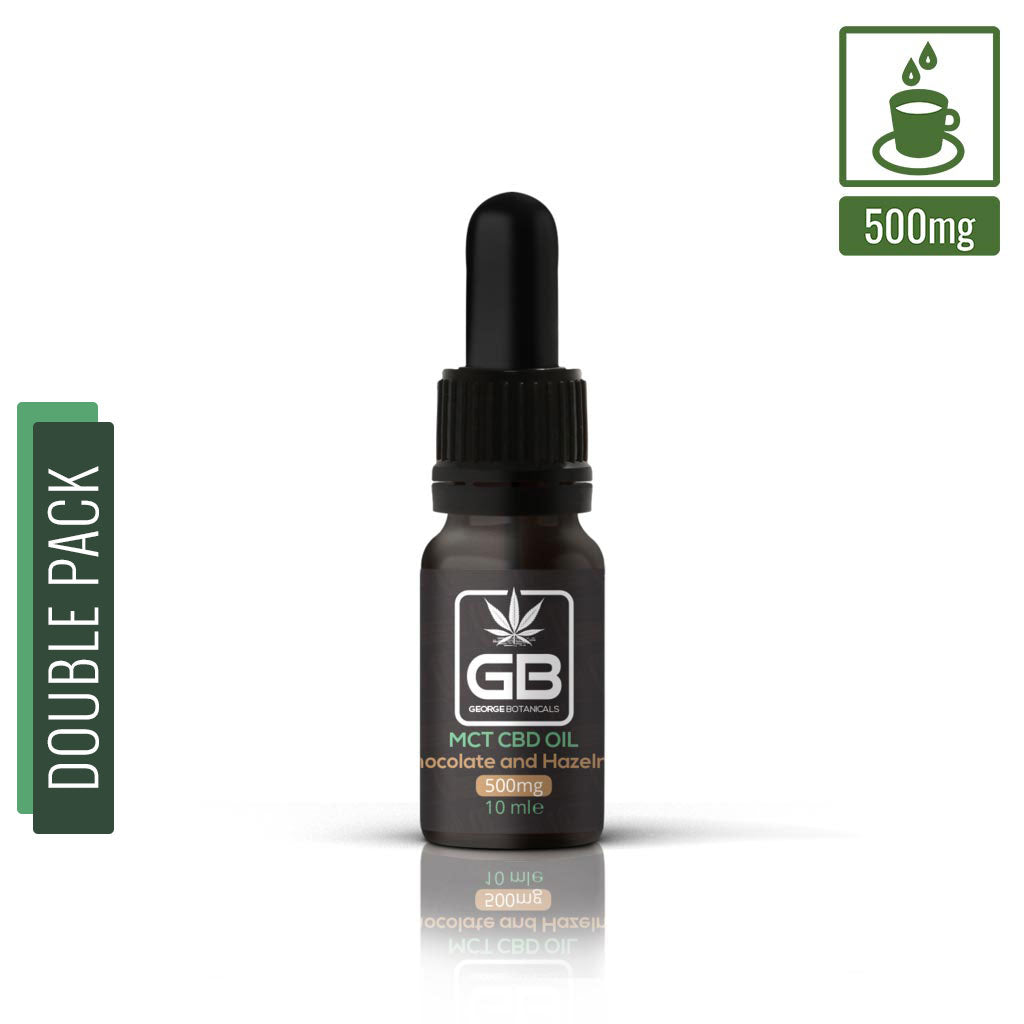 George Botanicals - CBD Flavoured Oil Drops 5% (DOUBLE PACK) - Chocolate and Hazelnut MCT (500mg CBD) 10ml