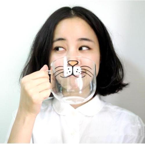 mug chat moustaches transparent cadeau cocooning fille