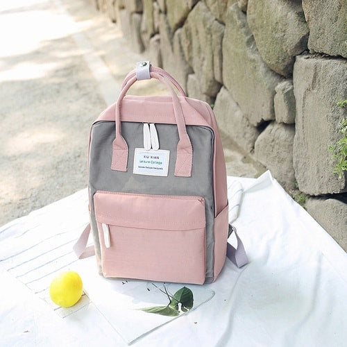 sac a dos cartable fille rose beige