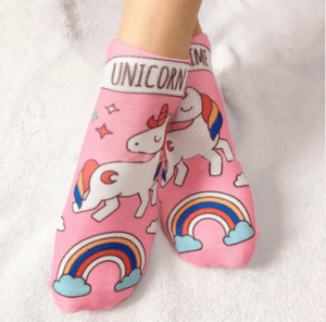 chaussettes licorne rose