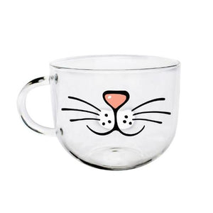 mug moustache de chat transparent cadeau fille cocooning