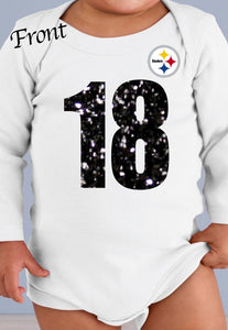 Pittsburgh Steelers Personalized Glitter Jersey Onesie