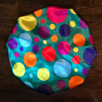 Large Polka Dots Satin Reversible Bonnet