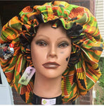 African Kente Charmeuse Satin Lined Bonnet