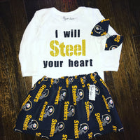 Steelers Cotton Skirt & Bow Headband
