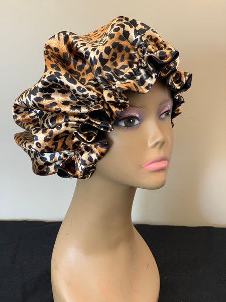 Cheetah Print Charmeuse Satin Reversible Bonnet