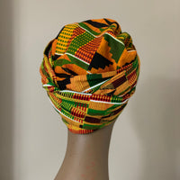 African Kente Satin Lined Bonnetwrap Headwrap