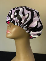 Zebra/Pink Reversible Charmeuse Satin Bonnet