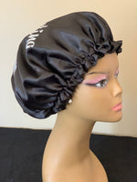 Protecting my Crown Black Charmeuse Satin Bonnet