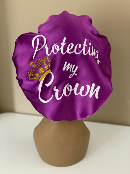Protecting my Crown Purple Charmeuse Satin Bonnet