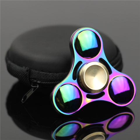 Fidget Spinner for Adults & Children. Tri-spinner Precision Colorful Metal, Colorful Hand Tri-Spinner Fidgets Toys, Alloy EDC Sensory, Fidget Spinners For Autism And Kids/Adult toy Spinning Tops
