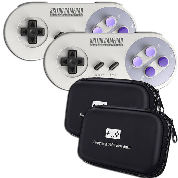 8Bitdo SN30 Double-Pack Bluetooth/Wireless Controller Bundle with Bonus Carrying Cases