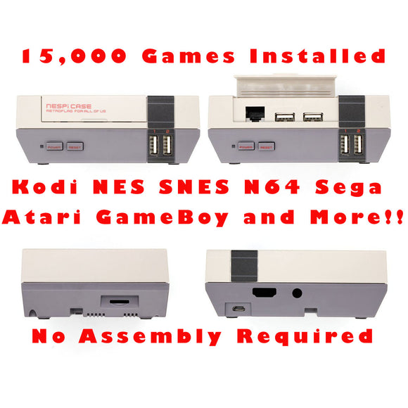 Retroflag NES Style Case RetroPie Gaming System with Almost 15,000 Games Installed and Kodi