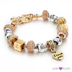 Bracelet À Breloque Charms Plaqué Or/argent Argent/or I Love You 3 Charme Bracelets