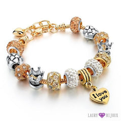 Bracelet À Breloque Charms Plaqué Or/argent Argent/or I Love You 2 Charme Bracelets