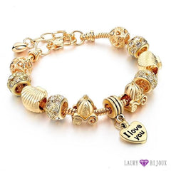 Bracelet À Breloque Charms Plaqué Or/argent Or I Love You Charme Bracelets