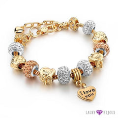 Bracelet À Breloque Charms Plaqué Or/argent Argent/or I Love You 4 Charme Bracelets