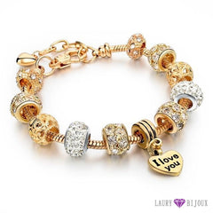 Bracelet À Breloque Charms Plaqué Or/argent Argent/or I Love You Charme Bracelets
