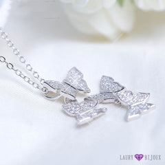 Collier Papillons En Argent Sterling 925 Ou Or Rose Pendentif Colliers