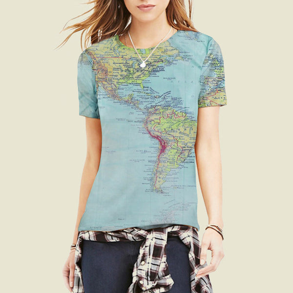 World Map T-Shirt - Summer Style