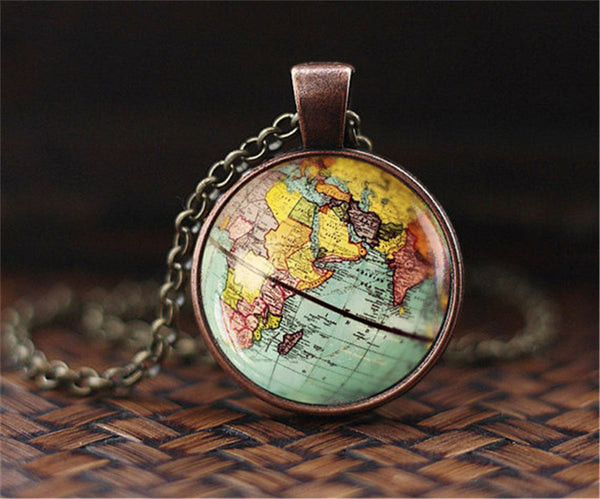 Globe Earth Map Pendant - Hand made necklace