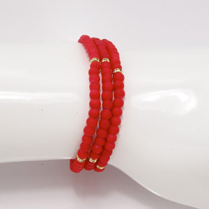 Red Gold Beaded Triple Wrap Bracelet