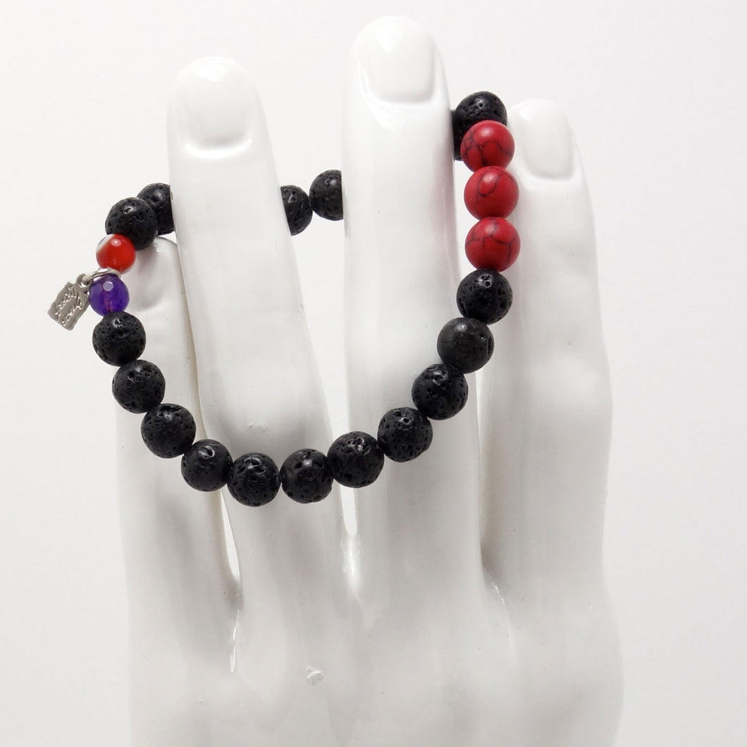 Natural Black Lava Men's Bracelet