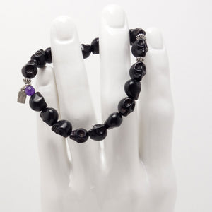 Black Bone Skull Men's Bracelet