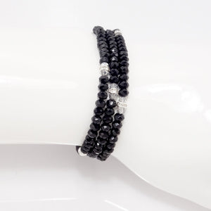 Black Silver Crystal Triple Wrap Bracelet