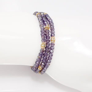 Shiny Purple Gold Crystal Triple Wrap Bracelet