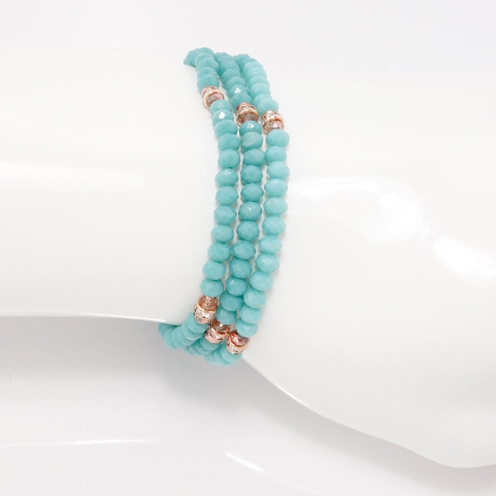 Teal Rose Gold Crystal Triple Wrap Bracelet