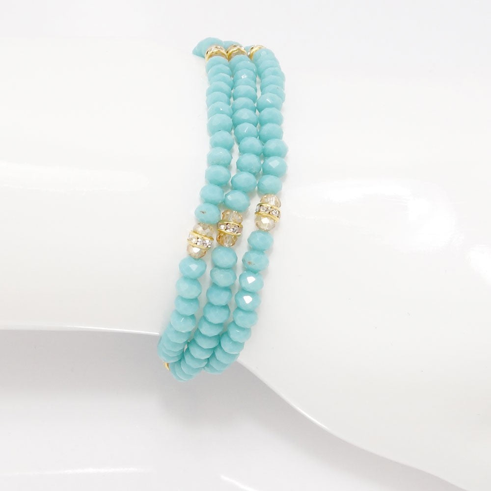 Teal Gold Crystal Triple Wrap Bracelet
