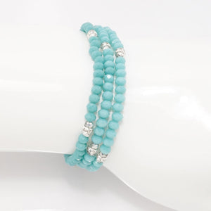 Teal Silver Crystal Triple Wrap Bracelet