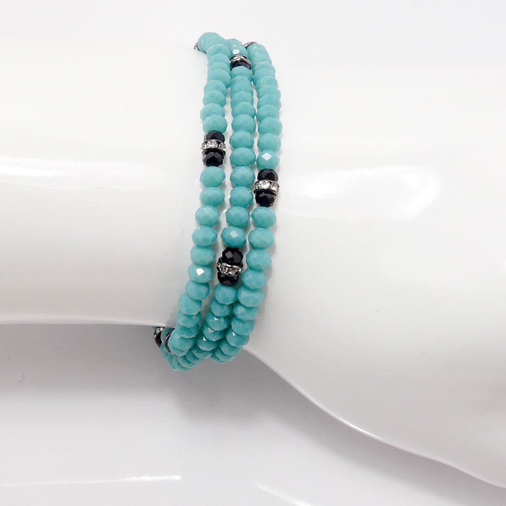 Teal Black Crystal Triple Wrap Bracelet