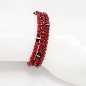Maroon Black Crystal Triple Wrap Bracelet