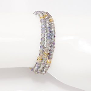 Smoky Purple Gold Crystal Triple Wrap Bracelet