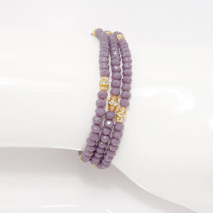 Eggplant Gold Crystal Triple Wrap Bracelet