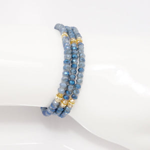 Denim Gold Crystal Triple Wrap Bracelet