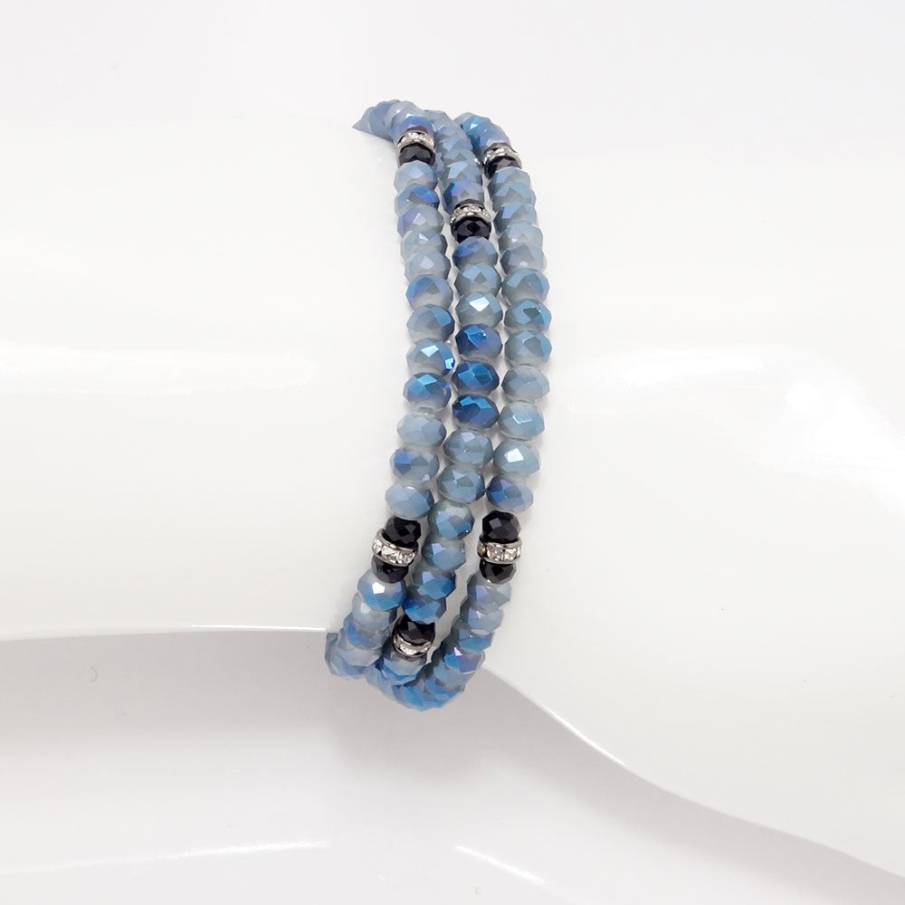 Denim Black Crystal Triple Wrap Bracelet