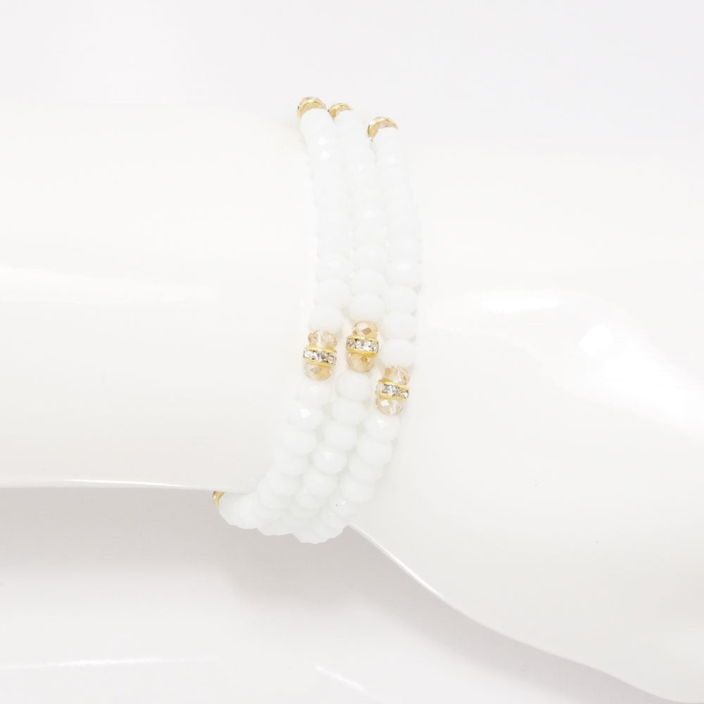 White Gold Crystal Triple Wrap Bracelet