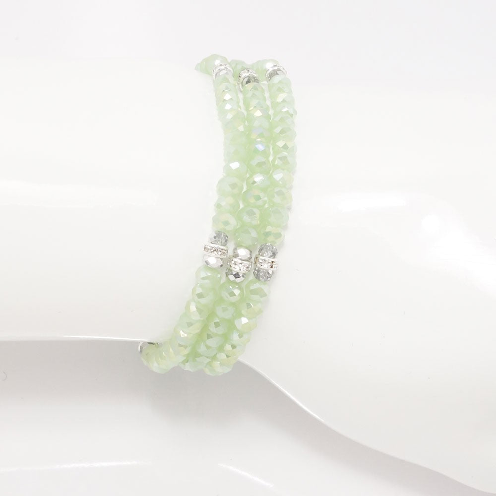 Frosted Green Silver Crystal Triple Bracelet