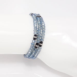 Sheer Blue Black Crystal Triple Wrap Bracelet