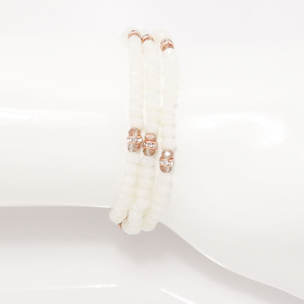 Off White Rose Gold Crystal Triple Wrap Bracelet