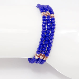 Royal Blue Rose Gold Crystal Triple Wrap Bracelet