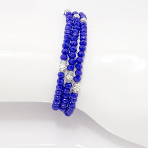 Royal Blue Silver Crystal Triple Wrap Bracelet
