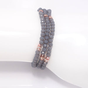Country Grey Rose Gold Crystal Triple Bracelet