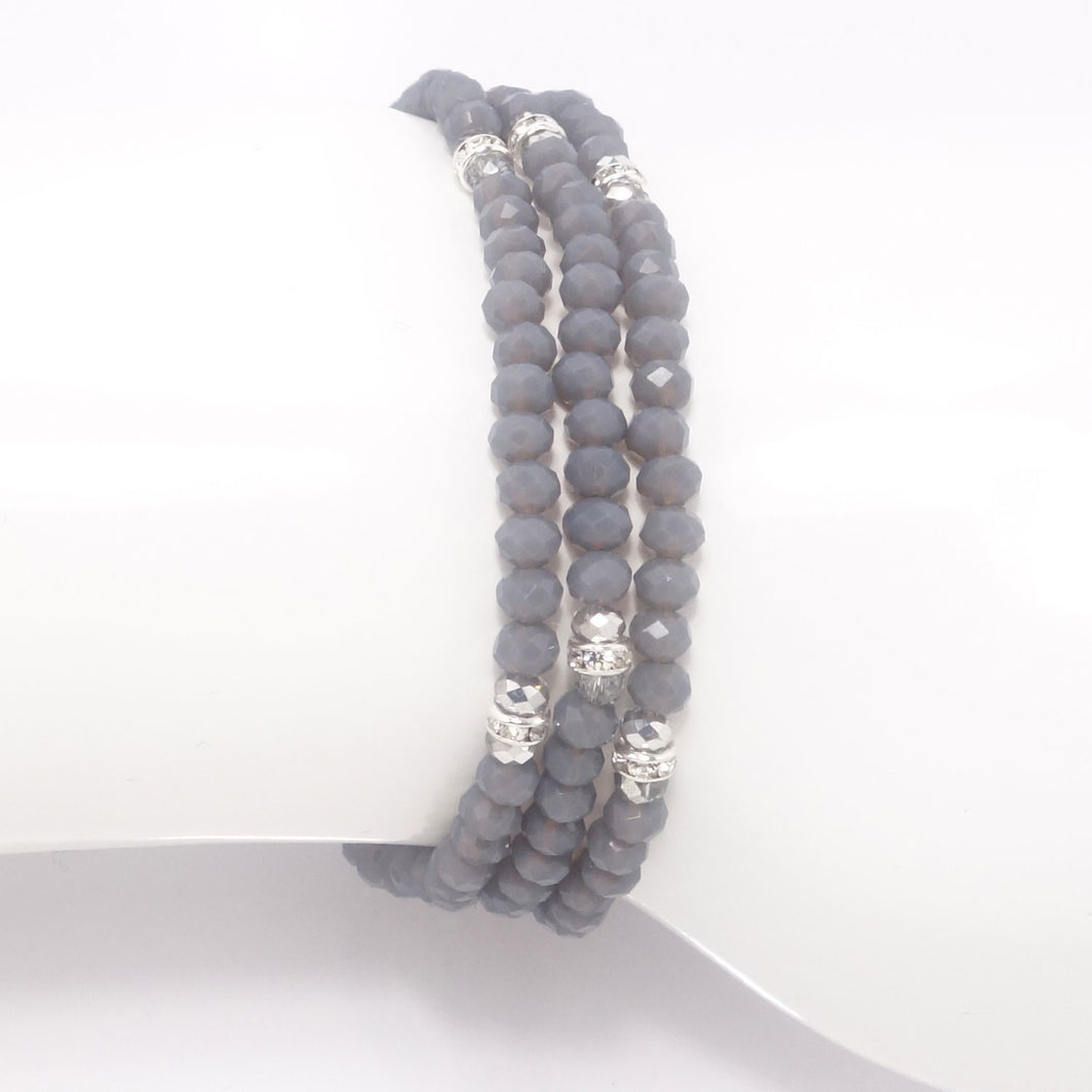 Country Grey Silver Crystal Triple Wrap Bracelet