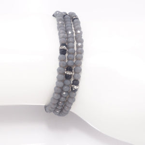 Country Grey Black Crystal Triple Wrap Bracelet