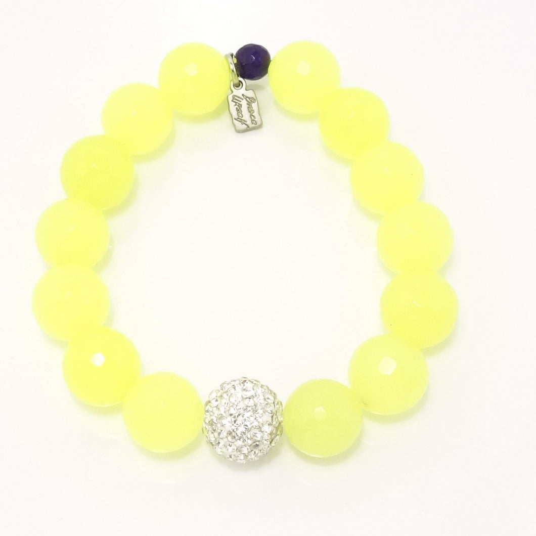 Neon Yellow Agate/Silver