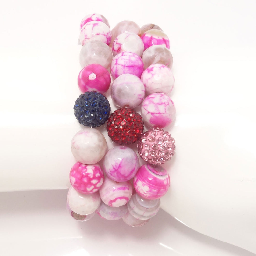 Hot Pink and White Agate/Pink/Red/Navy